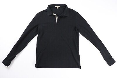 Burberry Brit Black Long Sleeve Polo Shirt Nova Check S Small