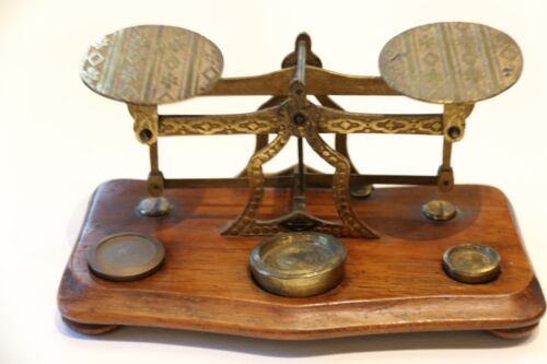 A Set Of Antique 19th Century Brass Postal Scales.