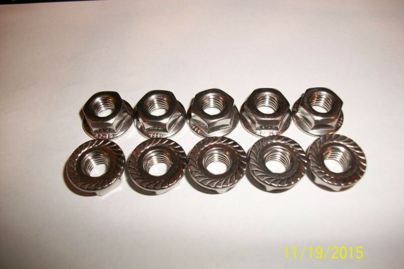 25 M8-1.25 or 8mm x 1.25 A2 Stainless Serrated Flange Lock Nut Spin Wiz Nuts