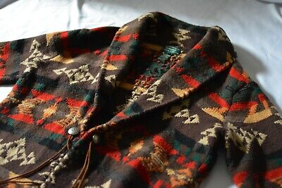 Ralph Lauren Exclusive Hand Knit Aztec Lambswool Southwest Cardigan Womens Sz L