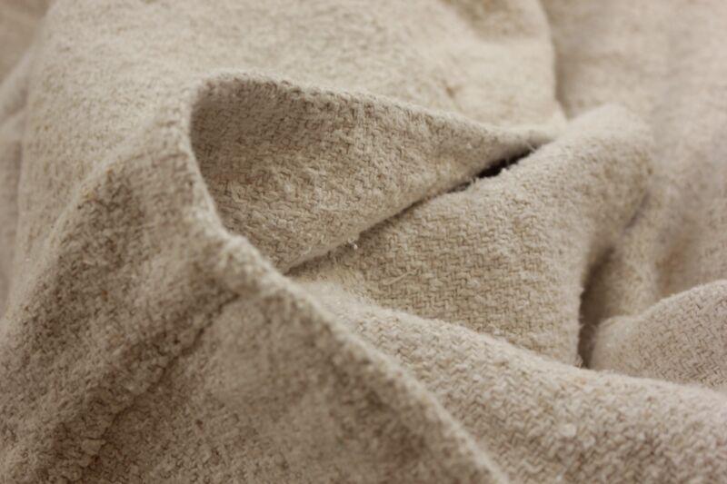 Old linen sheet handwoven linen  5 POUNDS HEAVY NUBBY fabric HEMP 88X46