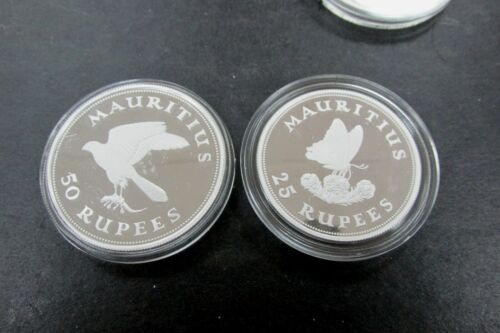 Mauritius 1975 Silver Proof 25 & 50 Rupees 2-Coin Set Butterfly & Kestrel Q3GO