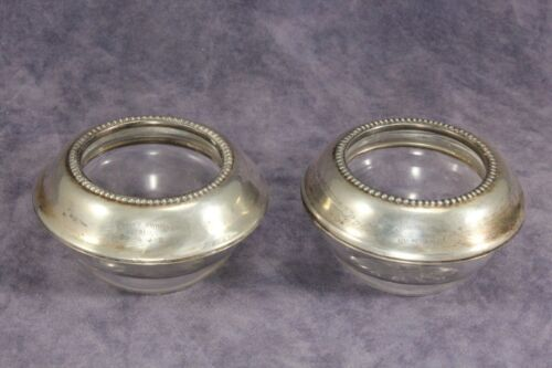 """Pair of Fine Glass 1¼"""" Salt Cellars w Frank M Whiting Sterling Silver Rims"""