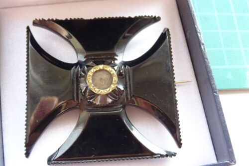 Georgian Carved Whitby Jet Maltese Cross Brooch set with central Mourning Hair