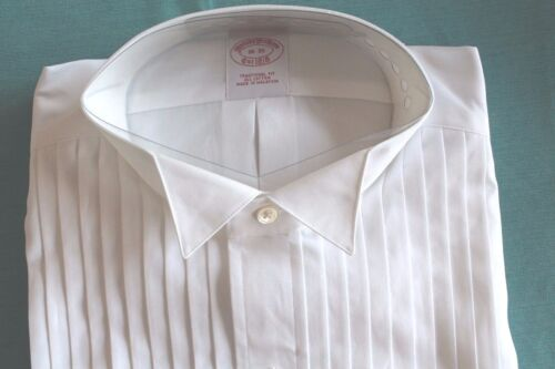 """NWT BROOKS BROTHERS FORMAL TUXEDO DRESS SHIRT PLEAT FRONT WING COLLAR 15h""""-18"""""""