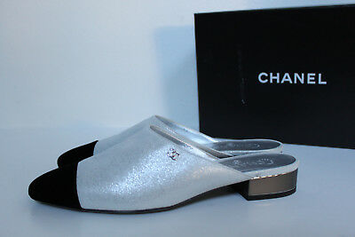 New sz 10 405 CHANEL Silver CC Logo Cap Toe Mule Slip on Low Heel Pump Shoes