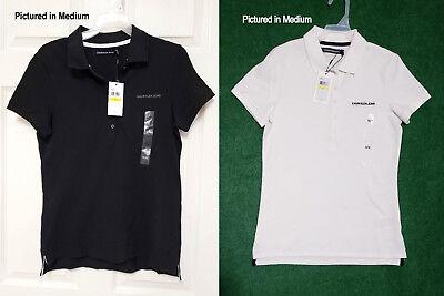 NWT $49 Women's Calvin Klein Embroidered Logo Polo Shirt Size M L XL Black White