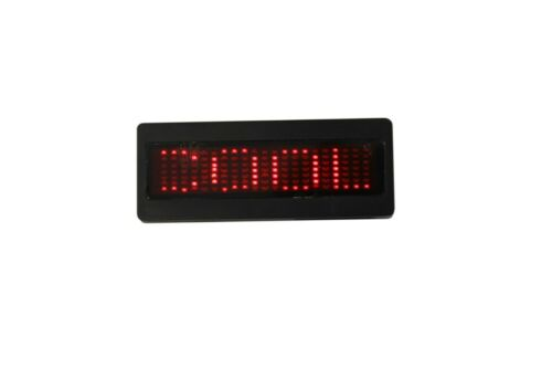 Bolan Programmable Scrolling Red LED Name Tag, Reusable Name Badge