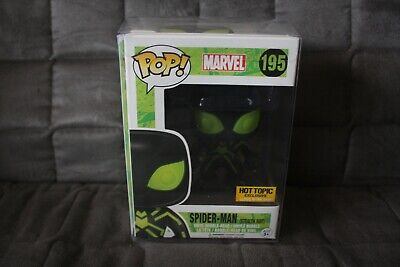 Funko Pop! Mavel - Spider-Man - Stealth Suit GITD - Hot Topic w/protector - 195