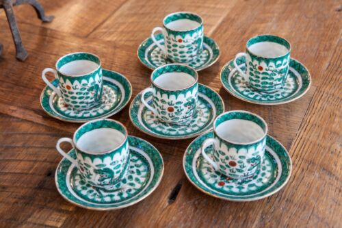 Vintage Chinese Set of 6 Porcelain Cups & Saucers Green Dragon Hand Painted YT