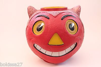 VINTAGE DEVIL CAT HALOWEEN JACK O' LANTERN VOTIVE WITH GLOW EYES NOSE TEETH