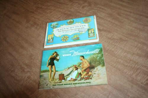 1957 Visit Massachusetts Tourist Brochure + 1964 Mass. Travel Map See Pix!!