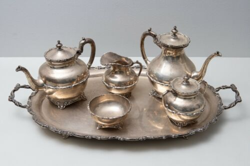 SZS .925 Mexican Sterling Silver 5 Piece Tea and Coffee Service w/  Tray