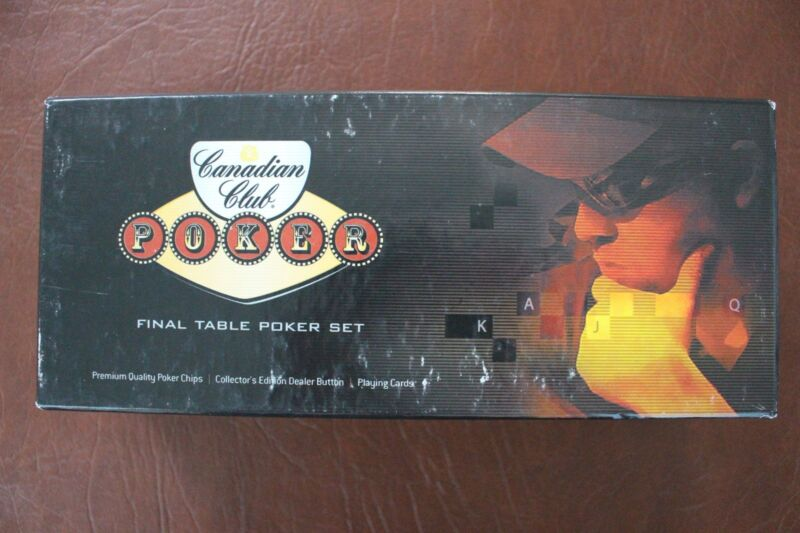 Canadian Club Poker Final Table Poker Set 100 Poker Chips w/cards NEW IN BOX