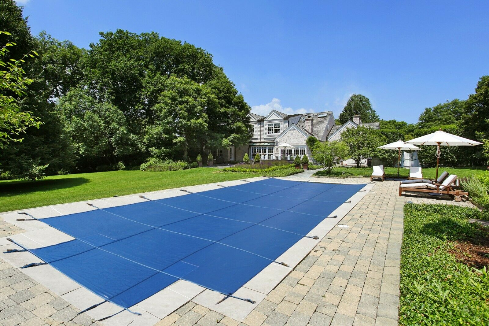 LinerWorld – In Ground Safety Pool Cover – Rectangle w/ optional Center End Step Home & Garden