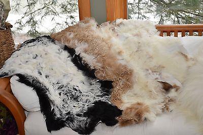 Rare Genuine Tibetan Sheepskin Rug,Curly Wool Soft Pliable Lambskin Baby Blanket