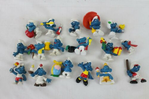 17 Vintage Super Smurf Lot Collection Schleich Peyo 1970s 80s Baseball Mushroom