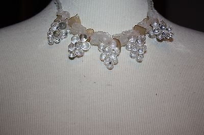 Vintage Lucite Bunch of Clear Grapes Celluloid Leaves Choker Necklace