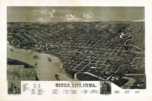 1888 SIOUX CITY panoramic IOWA map PLYMOUTH county IA 1