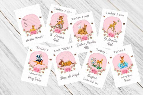 Bambi Baby Milestone Cards, Girls Pink, 33 Cards,300gsm card stock,Photo Prop
