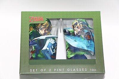 OFFICIAL NINTENDO LICENSED THE LEGEND OF ZELDA LINK SET OF 2 PINT GLASSES 16OZ  ()