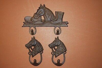 (3) Horse Stable Decor, Decorative Rustic Tack Hooks, Cowboy Hat Wall Hook