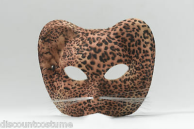 LEOPARD 1/2 EYE MASK w/ WHISKERS HALLOWEEN COSTUME MASQUERADE ACCESSORY