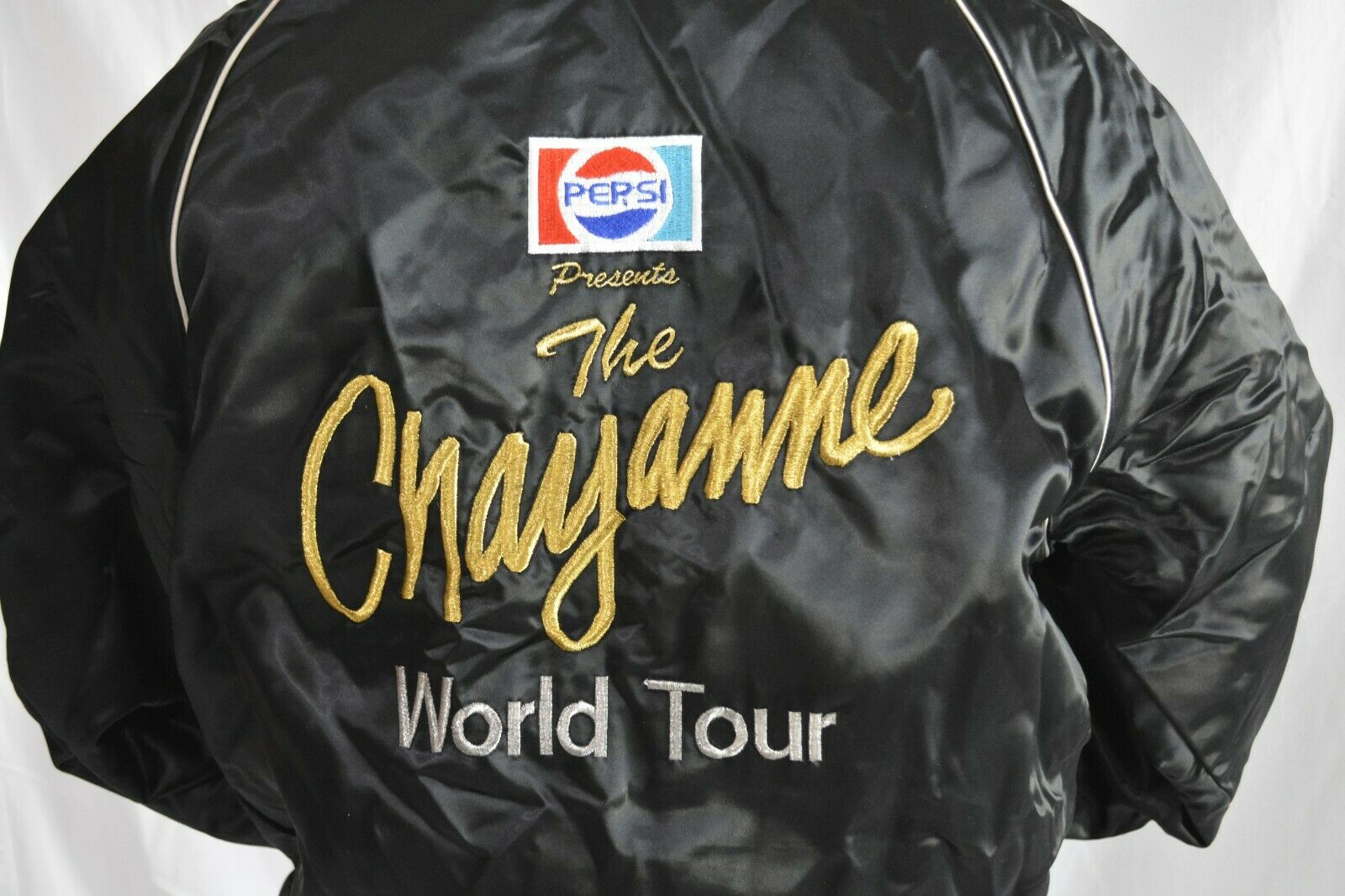 Vintage Chayanne Black Satin Embroidered Tour Jacket M Pepsi Latino Identity  - $199.99