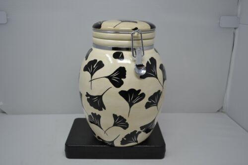 Inspirado IDC Seattle StoneLite Latch Lid Hand Paint Cream black flower Canister