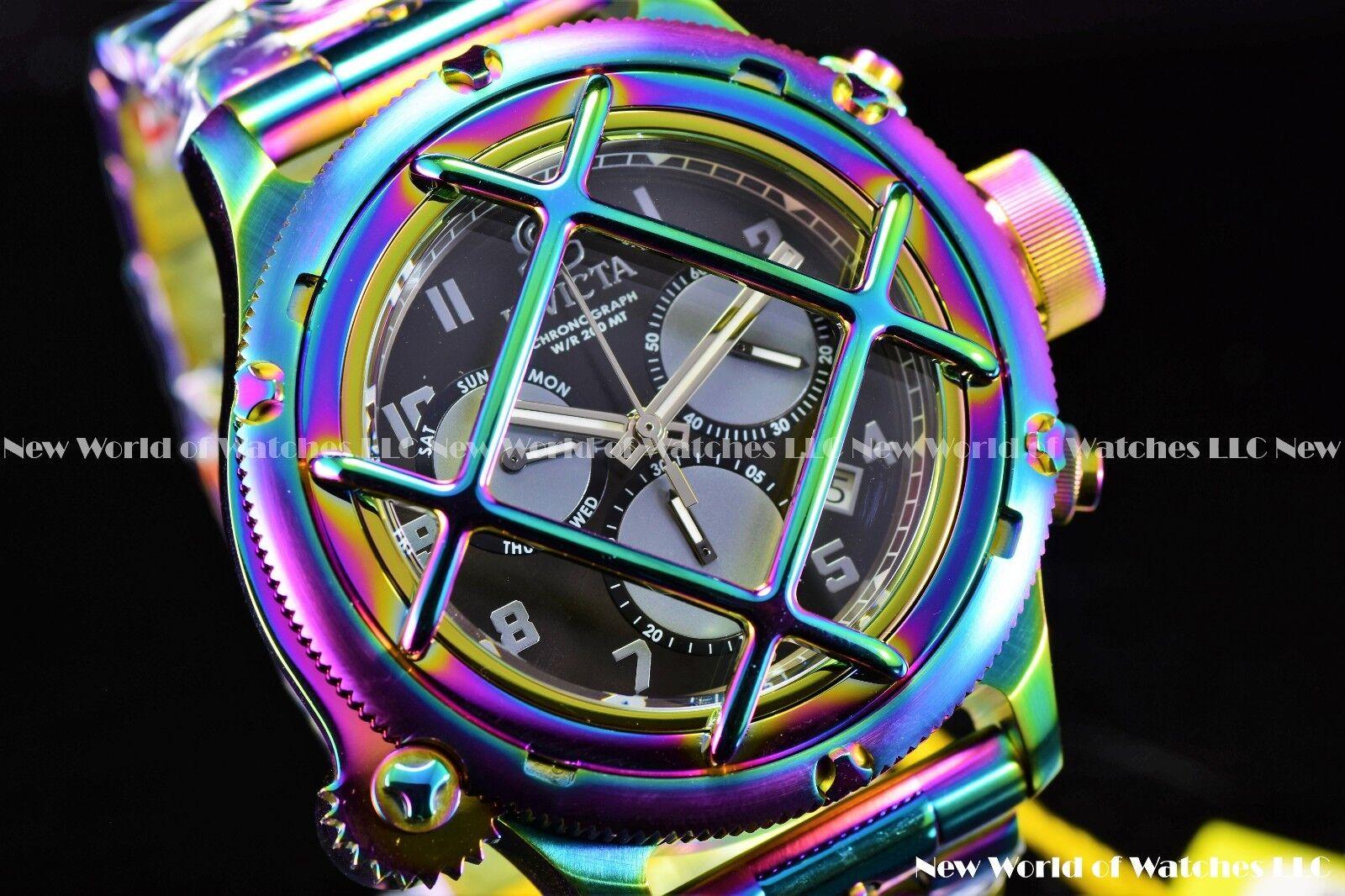 Invicta Men 52mm Russian Diver Nautilus Caged Iridescent Rainbow Chrono SS Watch