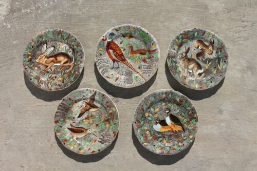 Gien France Rambouillet, Set of Five Dinner Plates, Hand-Painted