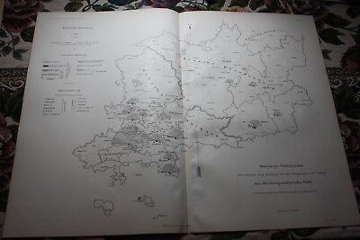1892 Stich Bergbau Landkarte Oberbergamt Halle Saale