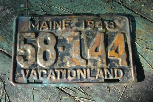 1948 BRASS MAINE License Plate 58-144 Vacationland
