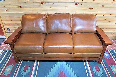 Flexsteel Arts   Crafts Mission Style Dark Oak Leather Sofa Morris Chair Ottoman