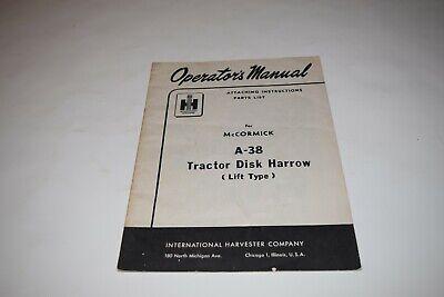 International Harvester Mccormick A-38 Tractor Disk Harrow Operators Manual
