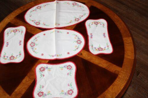 VINTAGE HAND EMBROIDERED DRESSER SET 5 PIECES~ RED TRIM FLORAL~