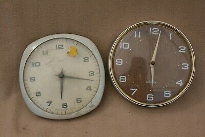 X 2 VINTAGE SMITHS AND WESTCLOX PULL CORD WALL CLOCKS FOR SPARES
