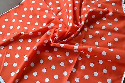 vintage Monique Martin Made Italy polyester scarf red background with white dots