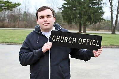 Vintage Heavy Thick Aluminum Black White Double Sided Church Office Sign