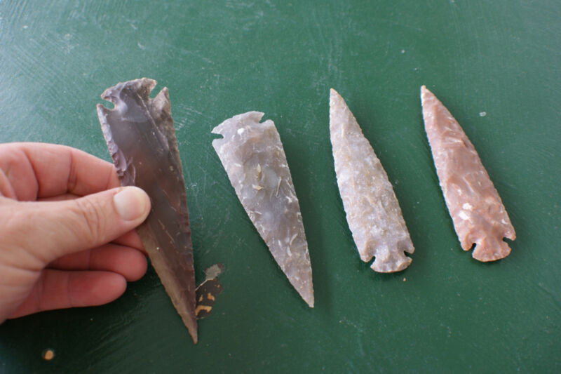 Over 5 inches long,4 nice spear heads. ideal for artwork, n hand crafted items