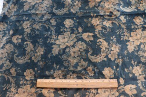 "French Antique c1880 Printed Floral Cotton Blue Green Velvet Fabic Panel~42""X27"""