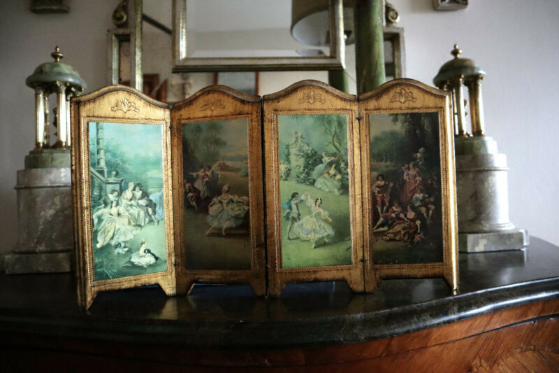 ITALIAN GOLD FLORENTINE 4-PANEL FRENCH GARDEN SCENE FOLDING SCREEN