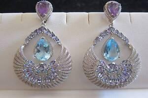 Stunning! Big! Amethyst, Blue Topaz sterling silver earrings Padbury Joondalup Area Preview