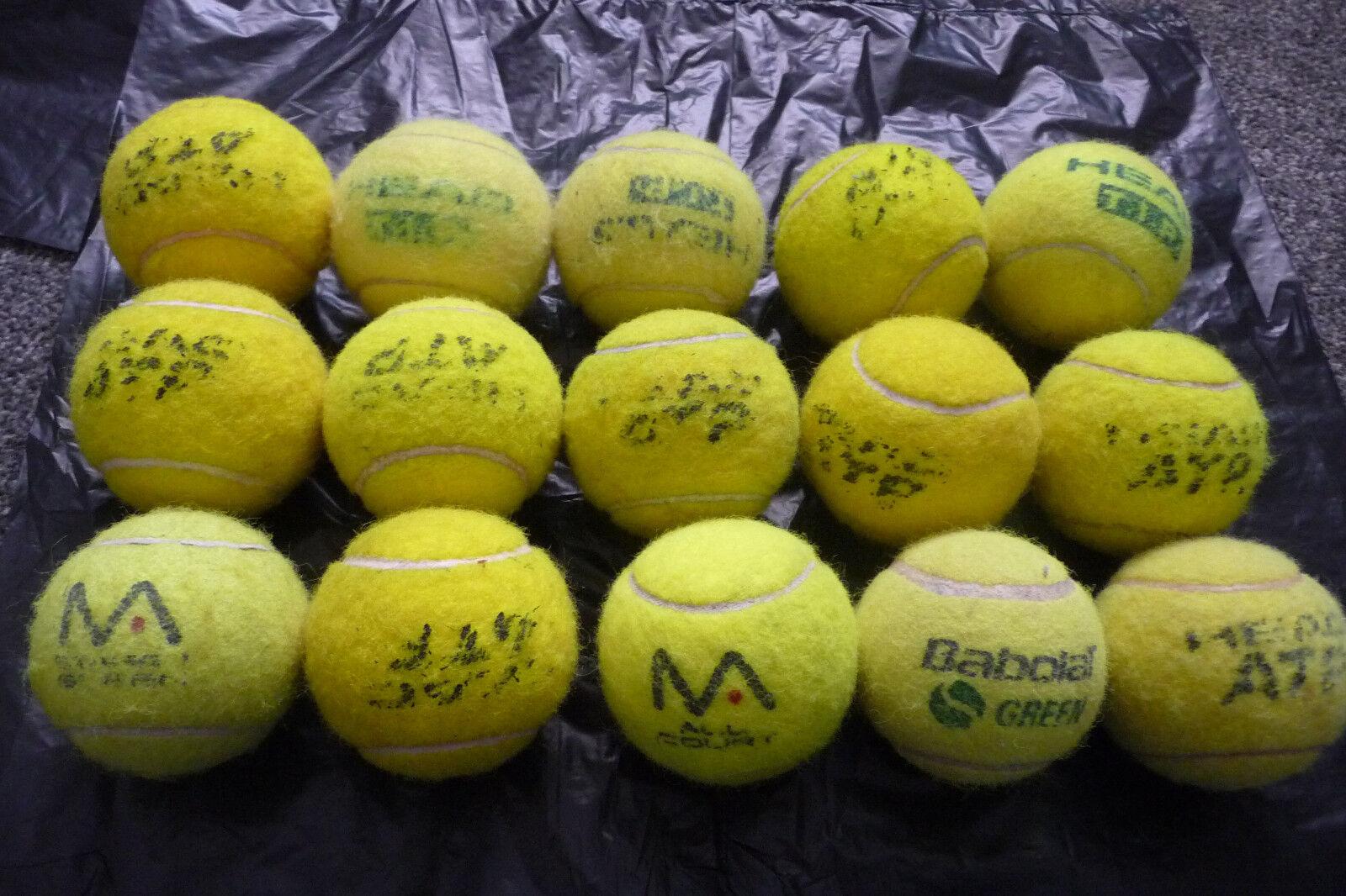15 used tennis balls lot 9