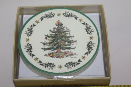 """Spode Christmas Tree Set of 8 Circle Paper cardboard coasters round NEW 4"""""""