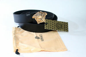 NWoT Versace Gold Medusa Design Black Color Leather Men's Belt Size 30-38