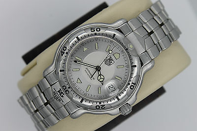 Tag Heuer WH1113 Mens 6000 SILVER GRAY Professional SS Watch $2500 MINT Crystal
