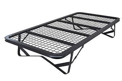 Skid Metal Bed frame 3ft 4ft 4ft6 Black Folding Mesh Fold Up Bed