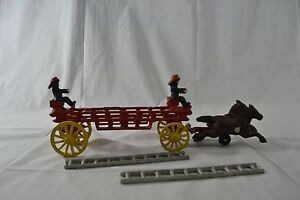 Vintage Cast Iron Antique Horse Drawn Ladder Wagon Ladder Fire Truck