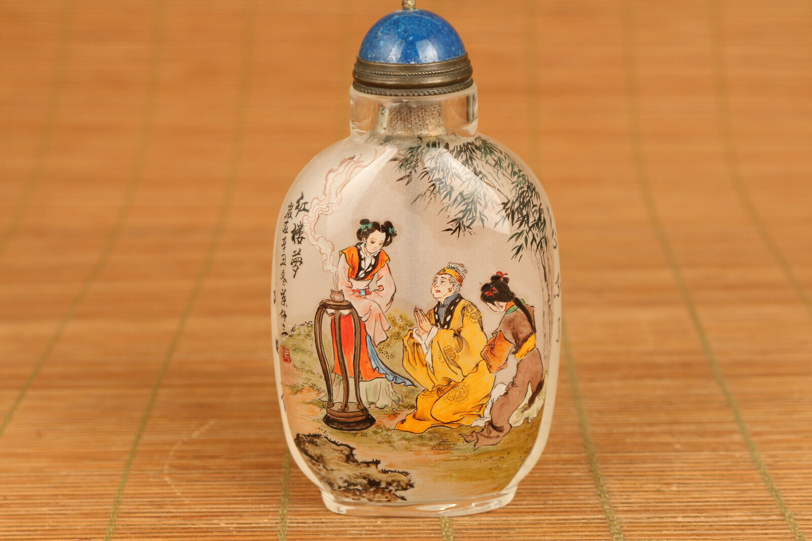Rare A Dream in Red Mansions glass Hand painted blessing snuff bottle